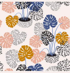 abstract monstera flowers seamless pattern vector image