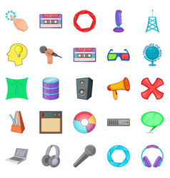 Applications icons set cartoon style vector