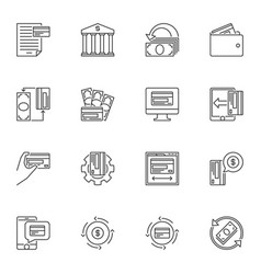 bank and money outline concept icons set vector image