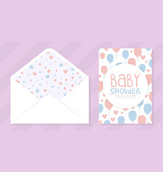 bashower invitation card and envelope templates vector image