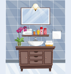 Bathroom interior with washbasin in flat style vector