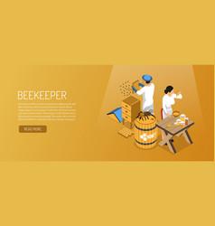 beekeepers isometric horizontal banner vector image