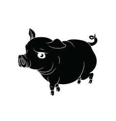 Big pig with the curly tail black with white vector