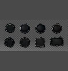 black wax seals set for letter and envelope vector image
