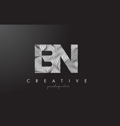 Bn b n letter logo with zebra lines texture vector