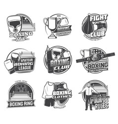 boxing sport icons punching bags boxer gloves vector image