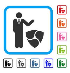 Businessman show nem framed icon vector