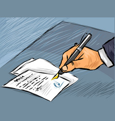 Businessman signing act vector