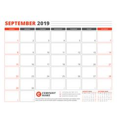 Calendar template for september 2019 business vector