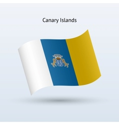 Canary Islands flag waving form vector