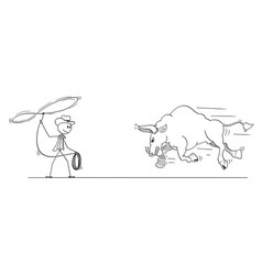 cartoon drawing cowboy trying to catch bull vector image