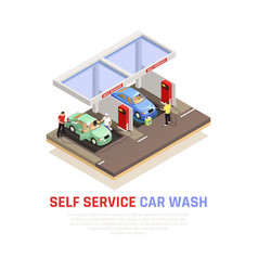 Carwash isometric composition vector