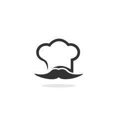 chef mustache logo vector image