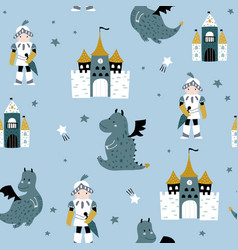 childish seamless pattern with knight dragon and vector image