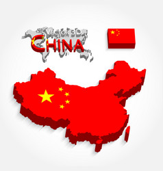 China 3d map and flag vector