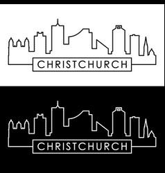 Christchurch skyline linear style editable file vector