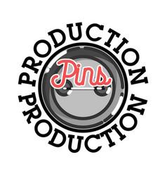 Color vintage pins production emblem vector