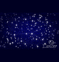 constellation of cancer in a starry blue sky vector image