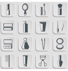 Cosmetics icons set on gray vector image