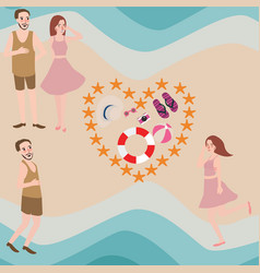 Couple and friend enjoy summer beach vector