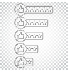 customer review icon thumb up with stars rating vector image