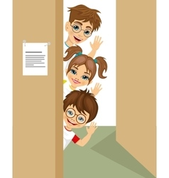 Cute children peeking of the door waving vector