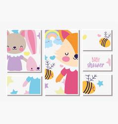 cute female fox rabbit and bear bashower card vector image