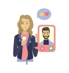 dating app in phone profile people app vector image