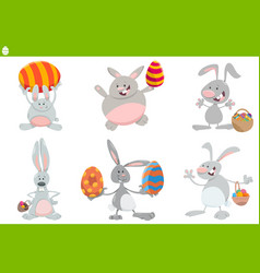 easter bunnies set cartoon vector image