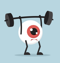 Eyeball cartoon lifting weights vector