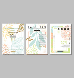 fashion sales floral banners with pastel colors vector image