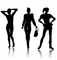 Fashion woman silhouette set vector