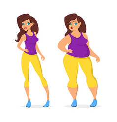 fat and slim woman in sport wear vector image