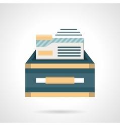 Files box flat color icon vector