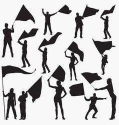 Flag waving silhouettes vector