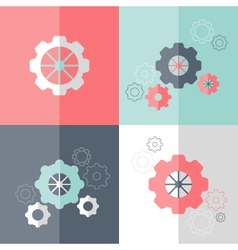 Flat gear wheel icons set vector