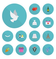Flat icons building fizz jewelry and other vector
