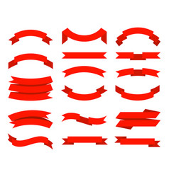flat ribbons banner tape collection premium red vector image