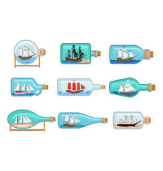 flat set of glass bottles with ships inside vector image