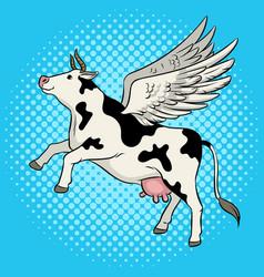 Flying cow farm animal pop art vector