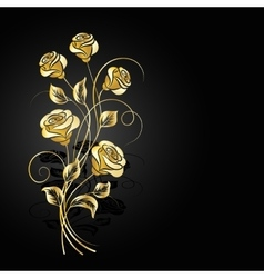 Gold roses with shadow on dark background vector image
