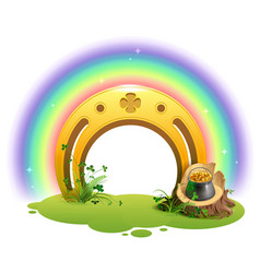golden horseshoe rainbow and pot of gold symbol vector image