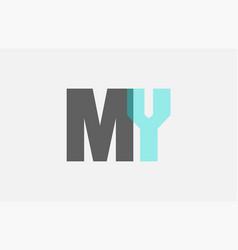 grey pastel blue alphabet letter combination my m vector image