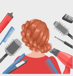 Hairdressing girl in beauty salon banner flat vector