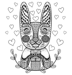 Hand drawn Easter Rabbit with gift and hearts in vector