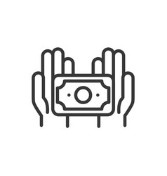 hands with banknote finance bank money icon thick vector image