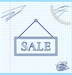 hanging sign with text sale line sketch icon vector image