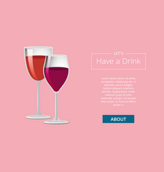 have a drink web page design with place for text vector image
