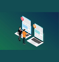 Isometric 3d design ab a b split testing concept vector