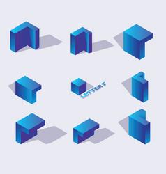 isometric alphabet font russian letter g 3d vector image